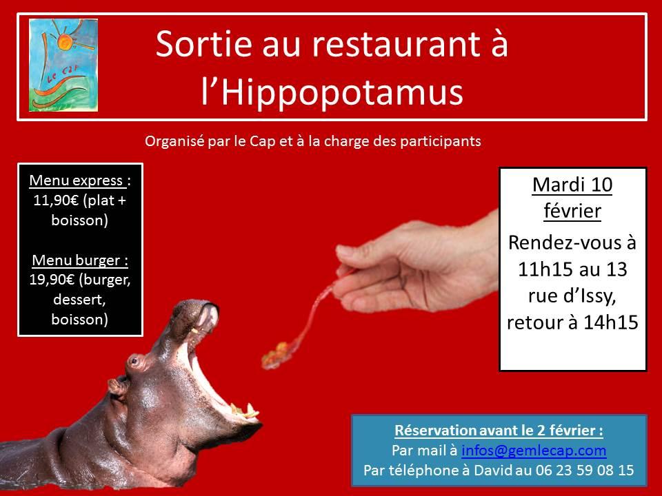 Sortie au restaurant à l'Hippopotamus